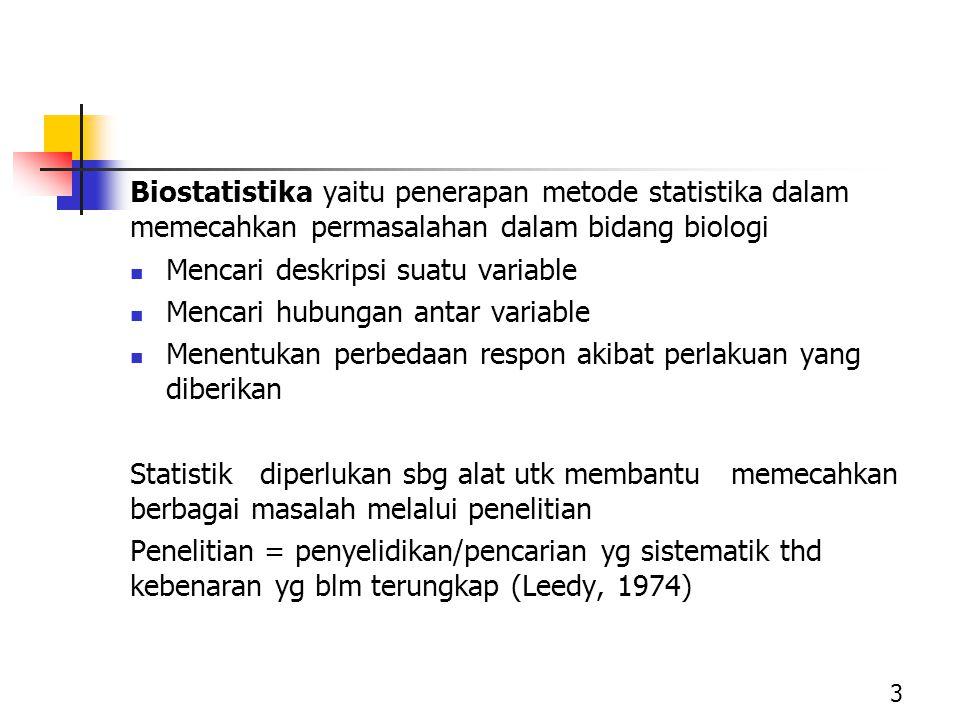Biostatistika yaitu penerapan metode statistika dalam memecahkan permasalahan dalam bidang biologi Mencari deskripsi suatu variable Mencari hubungan a