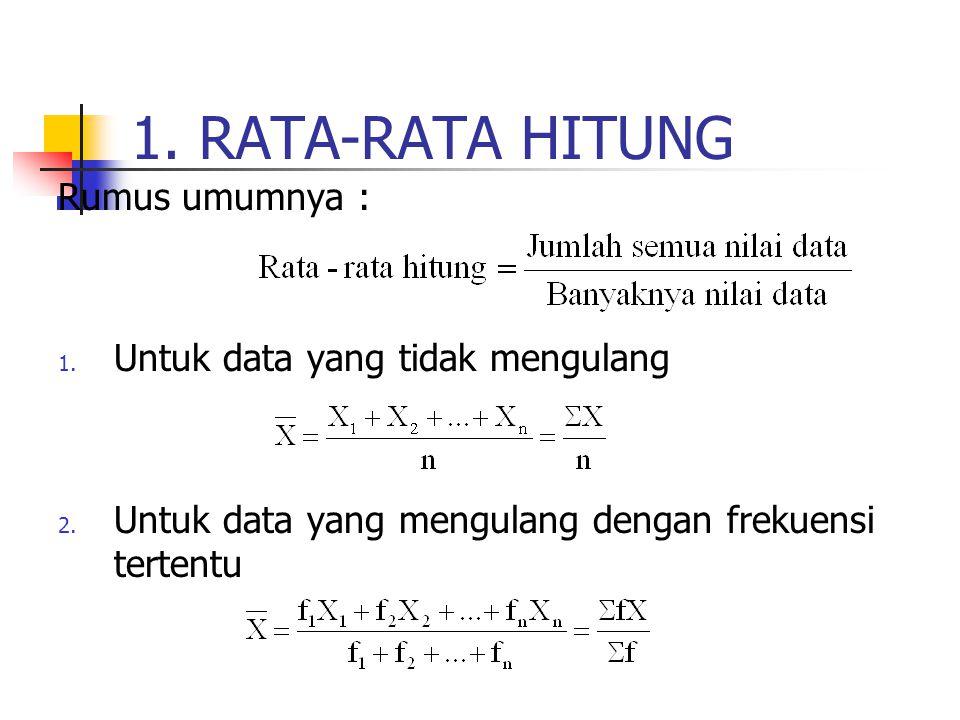 1. RATA-RATA HITUNG Rumus umumnya : 1. Untuk data yang tidak mengulang 2. Untuk data yang mengulang dengan frekuensi tertentu