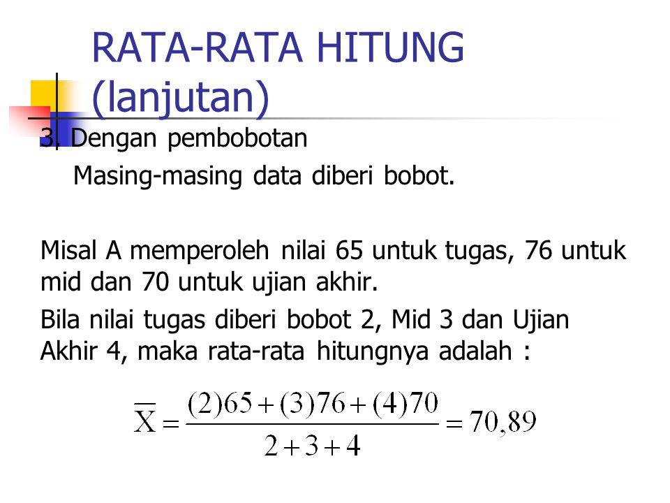 RATA-RATA HITUNG (lanjutan) 3. Dengan pembobotan Masing-masing data diberi bobot. Misal A memperoleh nilai 65 untuk tugas, 76 untuk mid dan 70 untuk u