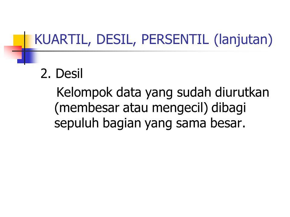 KUARTIL, DESIL, PERSENTIL (lanjutan) 2. Desil Kelompok data yang sudah diurutkan (membesar atau mengecil) dibagi sepuluh bagian yang sama besar.