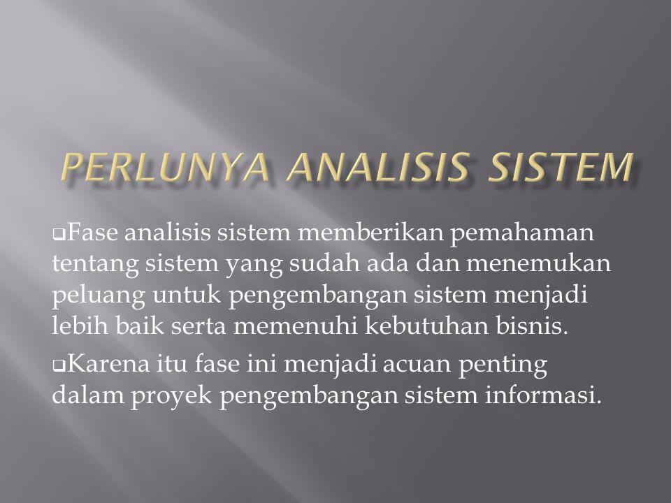  Fase analisis sistem memberikan pemahaman tentang sistem yang sudah ada dan menemukan peluang untuk pengembangan sistem menjadi lebih baik serta mem