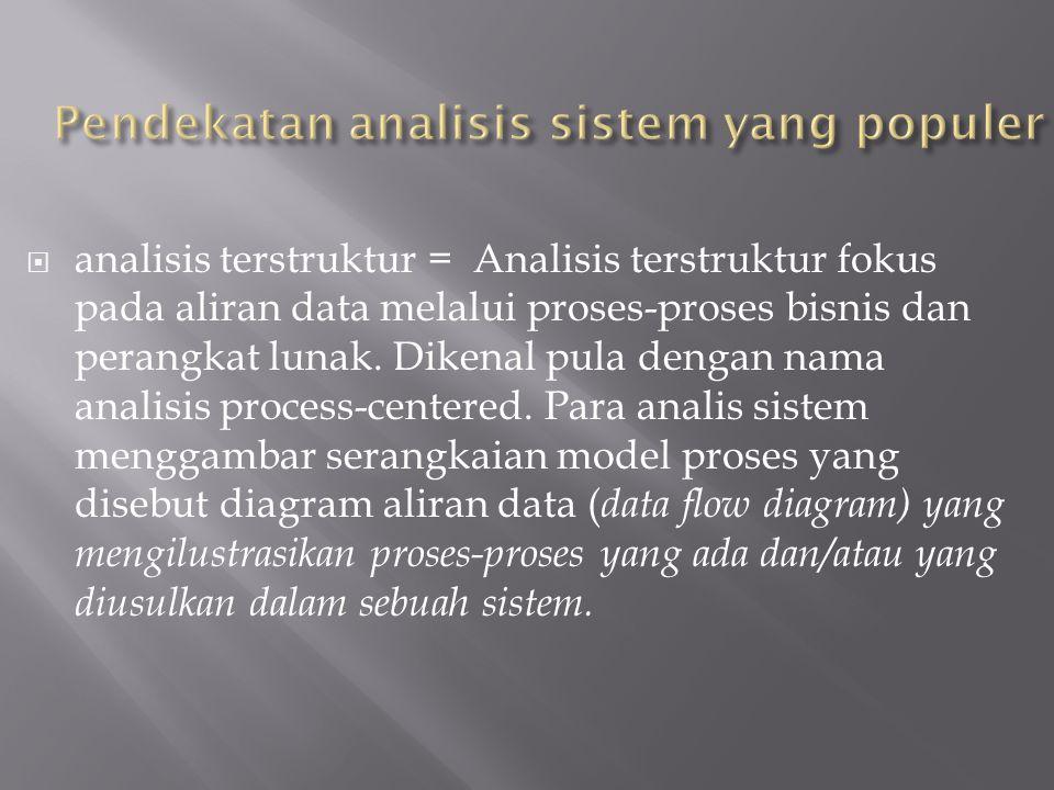  analisis terstruktur = Analisis terstruktur fokus pada aliran data melalui proses-proses bisnis dan perangkat lunak. Dikenal pula dengan nama analis