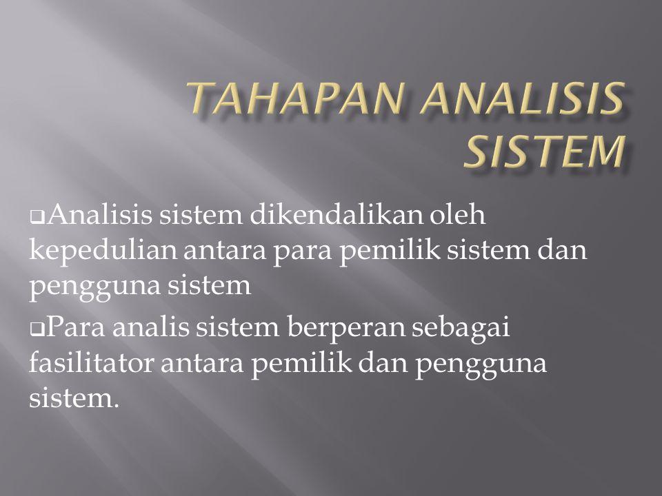  Analisis sistem dikendalikan oleh kepedulian antara para pemilik sistem dan pengguna sistem  Para analis sistem berperan sebagai fasilitator antara