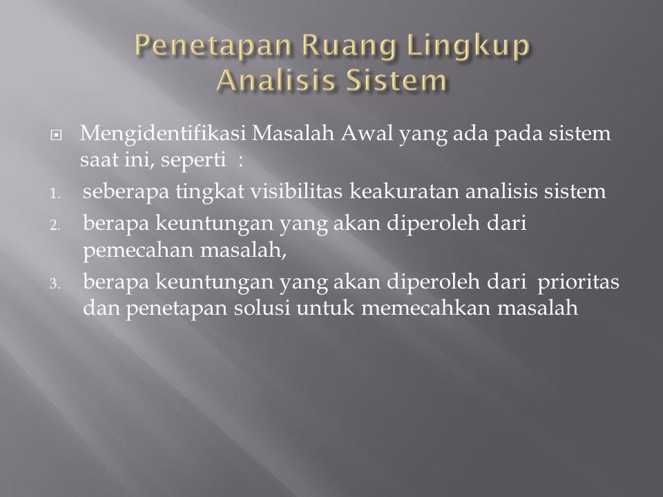  Mengidentifikasi Masalah Awal yang ada pada sistem saat ini, seperti : 1. seberapa tingkat visibilitas keakuratan analisis sistem 2. berapa keuntung