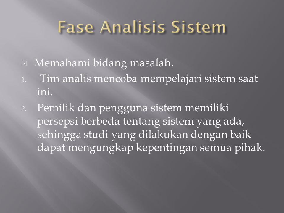  Memahami bidang masalah. 1. Tim analis mencoba mempelajari sistem saat ini. 2. Pemilik dan pengguna sistem memiliki persepsi berbeda tentang sistem