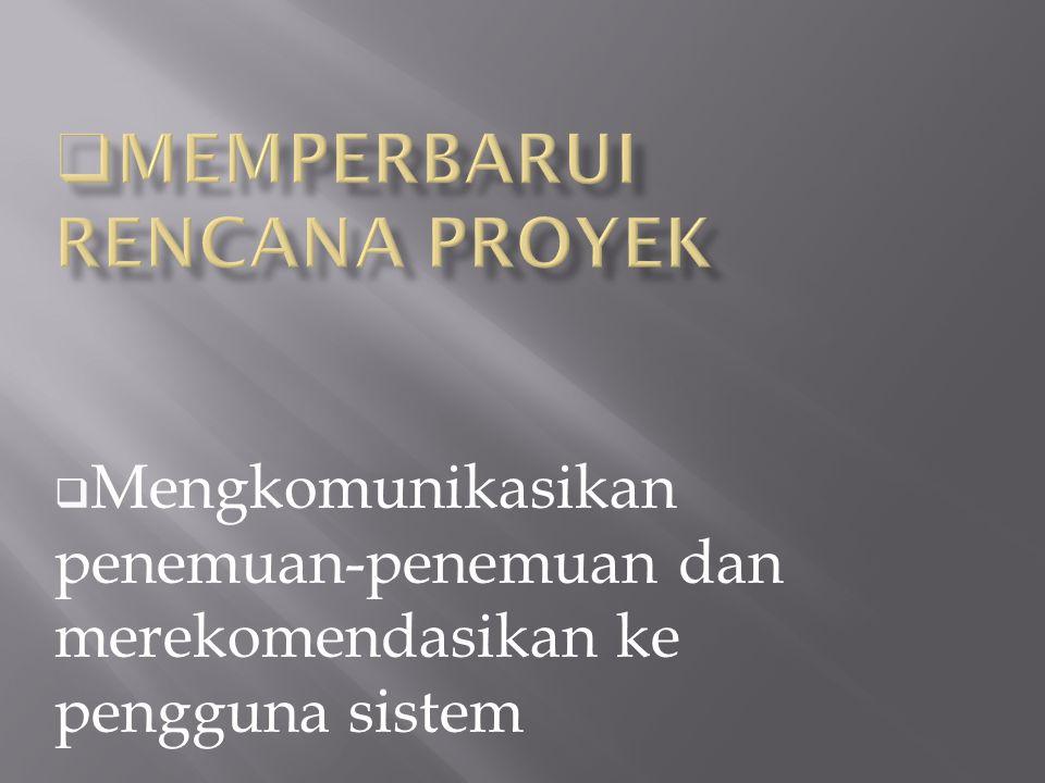  Mengkomunikasikan penemuan-penemuan dan merekomendasikan ke pengguna sistem