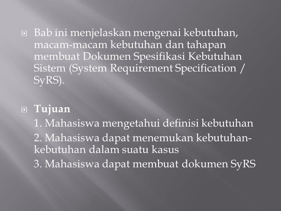  Bab ini menjelaskan mengenai kebutuhan, macam-macam kebutuhan dan tahapan membuat Dokumen Spesifikasi Kebutuhan Sistem (System Requirement Specifica