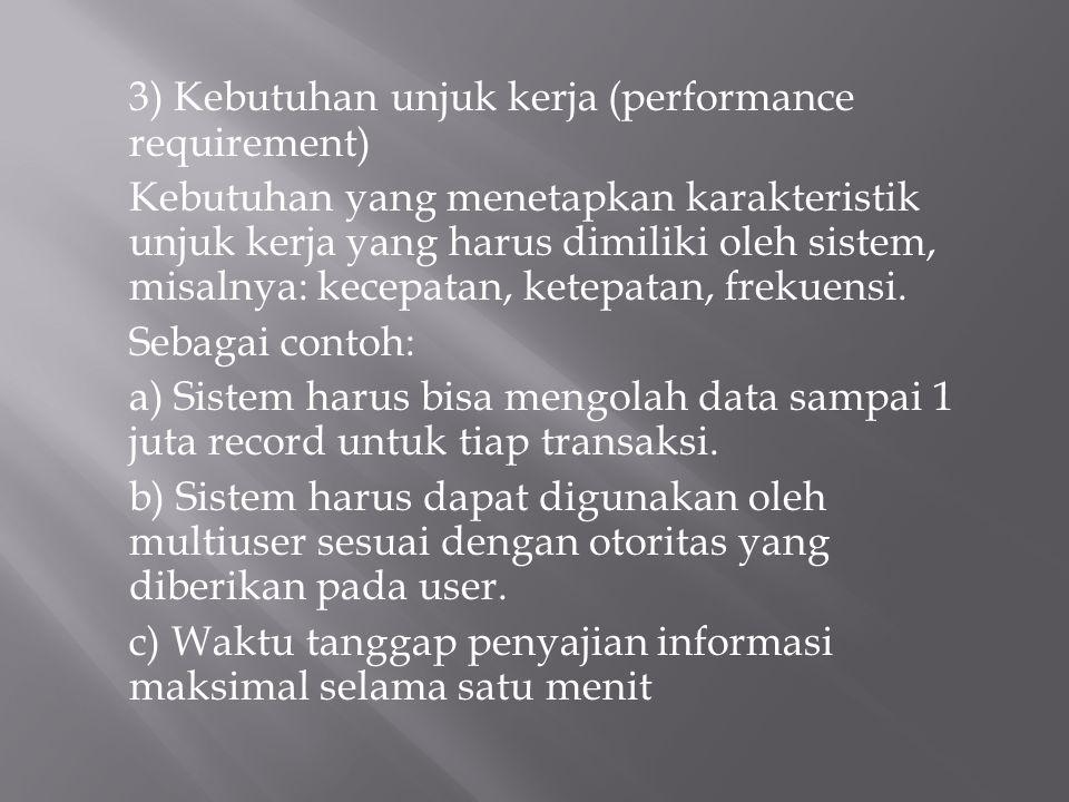3) Kebutuhan unjuk kerja (performance requirement) Kebutuhan yang menetapkan karakteristik unjuk kerja yang harus dimiliki oleh sistem, misalnya: kece