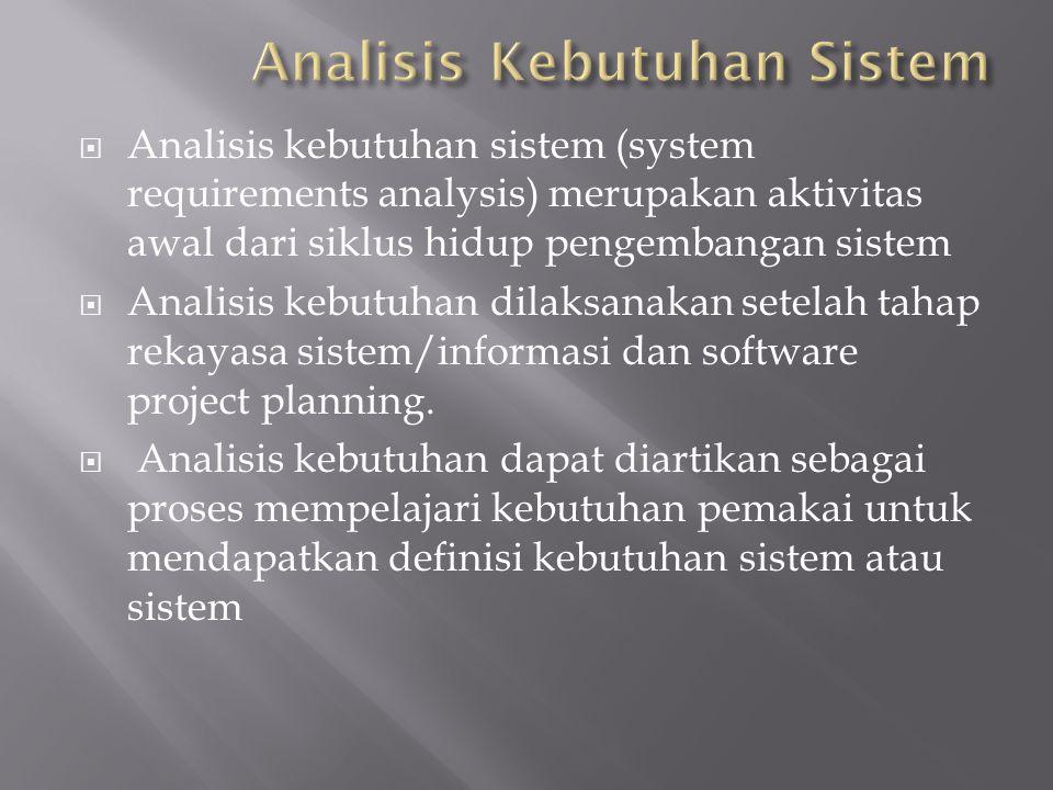  Analisis kebutuhan sistem (system requirements analysis) merupakan aktivitas awal dari siklus hidup pengembangan sistem  Analisis kebutuhan dilaksa