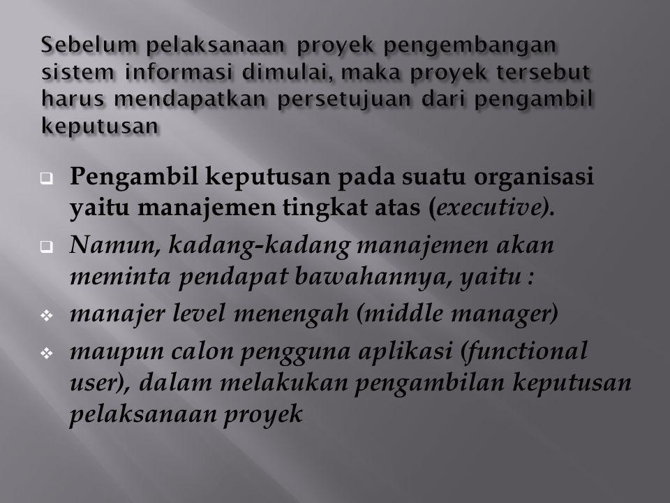  Executive (manajemen tingkat atas) Prioritas utama executive adalah ROI (Return On Invesment).