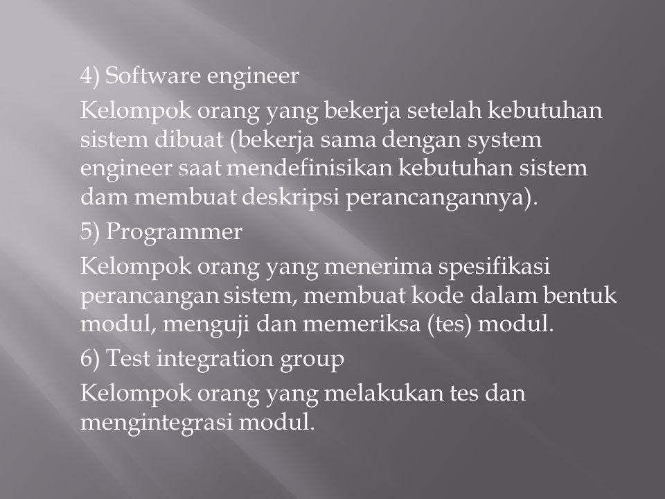 4) Software engineer Kelompok orang yang bekerja setelah kebutuhan sistem dibuat (bekerja sama dengan system engineer saat mendefinisikan kebutuhan si
