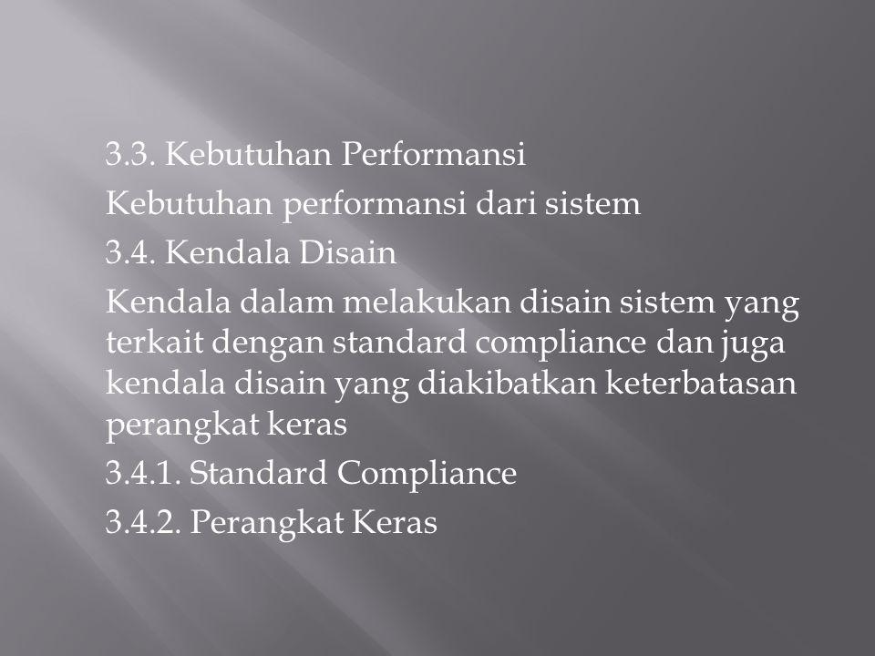 3.3. Kebutuhan Performansi Kebutuhan performansi dari sistem 3.4. Kendala Disain Kendala dalam melakukan disain sistem yang terkait dengan standard co