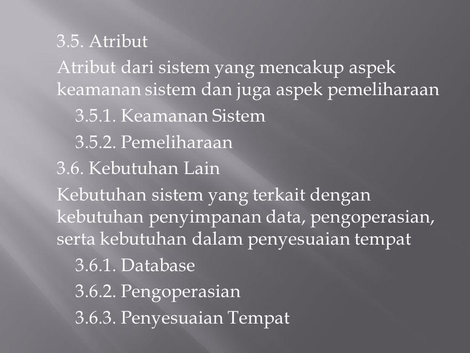 3.5. Atribut Atribut dari sistem yang mencakup aspek keamanan sistem dan juga aspek pemeliharaan 3.5.1. Keamanan Sistem 3.5.2. Pemeliharaan 3.6. Kebut