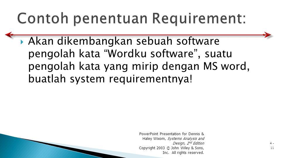 """ Akan dikembangkan sebuah software pengolah kata """"Wordku software"""", suatu pengolah kata yang mirip dengan MS word, buatlah system requirementnya! Pow"""