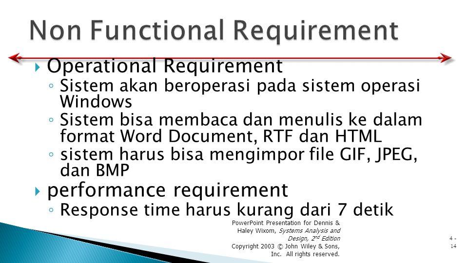  Operational Requirement ◦ Sistem akan beroperasi pada sistem operasi Windows ◦ Sistem bisa membaca dan menulis ke dalam format Word Document, RTF da