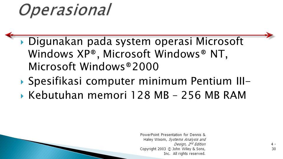 Digunakan pada system operasi Microsoft Windows XP®, Microsoft Windows® NT, Microsoft Windows®2000  Spesifikasi computer minimum Pentium III-  Keb