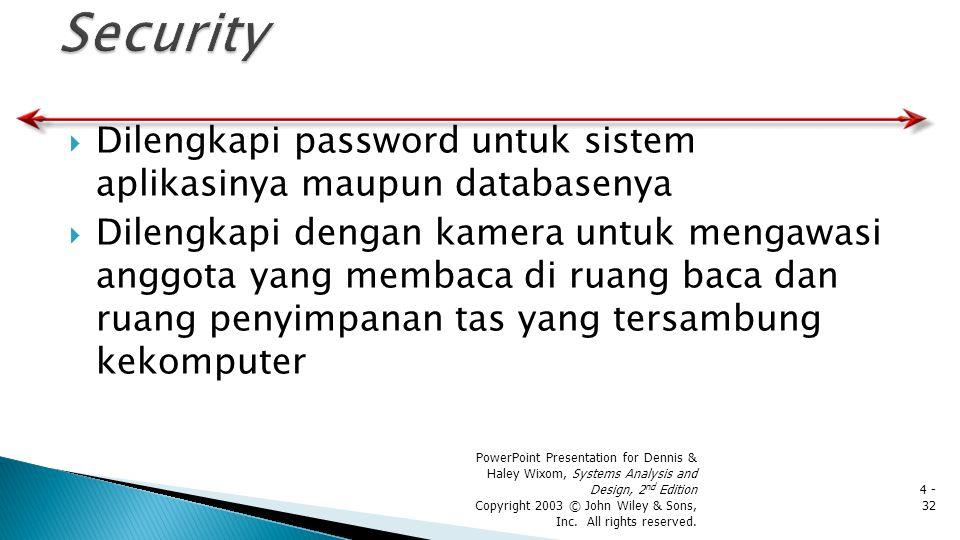  Dilengkapi password untuk sistem aplikasinya maupun databasenya  Dilengkapi dengan kamera untuk mengawasi anggota yang membaca di ruang baca dan ru