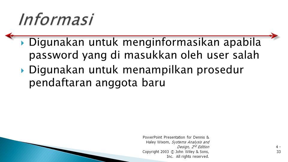  Digunakan untuk menginformasikan apabila password yang di masukkan oleh user salah  Digunakan untuk menampilkan prosedur pendaftaran anggota baru P