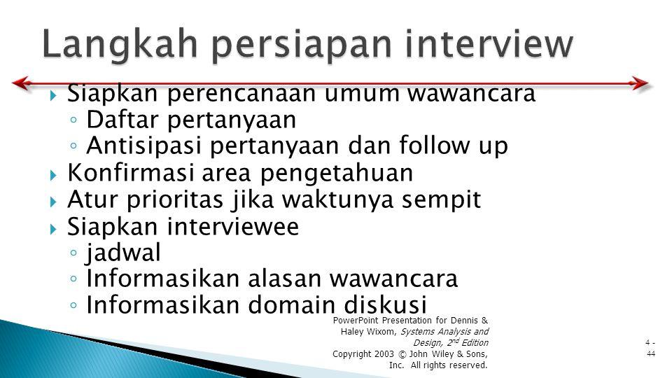  Siapkan perencanaan umum wawancara ◦ Daftar pertanyaan ◦ Antisipasi pertanyaan dan follow up  Konfirmasi area pengetahuan  Atur prioritas jika wak