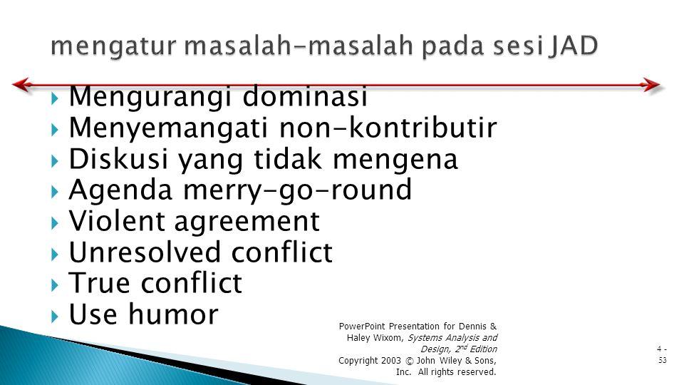  Mengurangi dominasi  Menyemangati non-kontributir  Diskusi yang tidak mengena  Agenda merry-go-round  Violent agreement  Unresolved conflict 