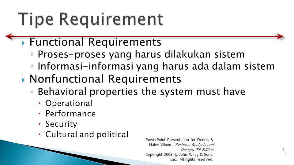  Functional Requirements ◦ Proses-proses yang harus dilakukan sistem ◦ Informasi-informasi yang harus ada dalam sistem  Nonfunctional Requirements ◦
