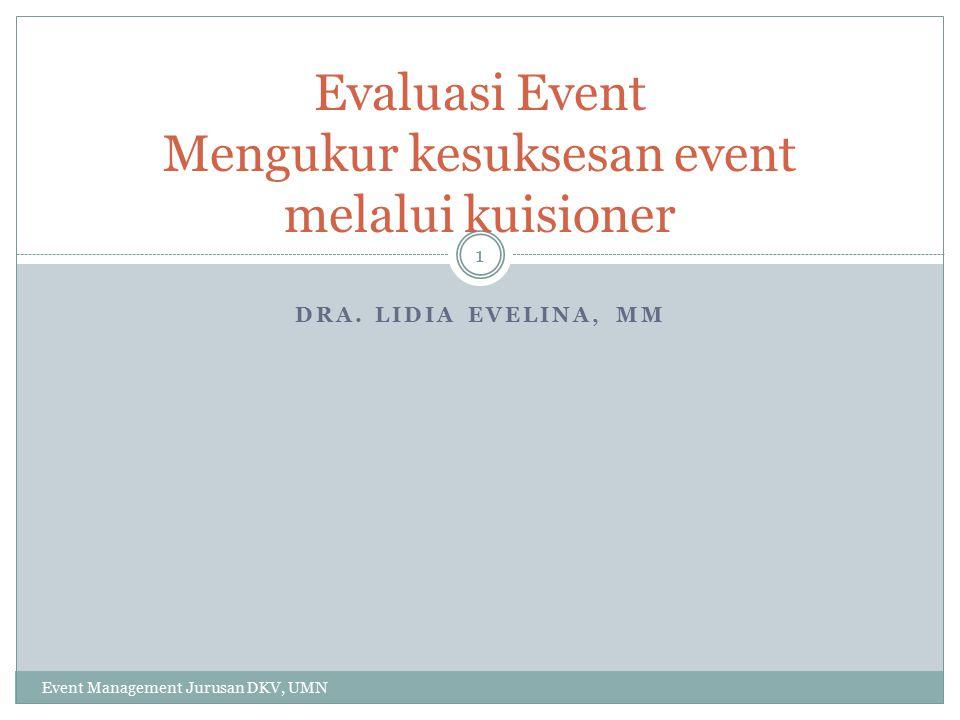 DRA. LIDIA EVELINA, MM Evaluasi Event Mengukur kesuksesan event melalui kuisioner 1 Event Management Jurusan DKV, UMN