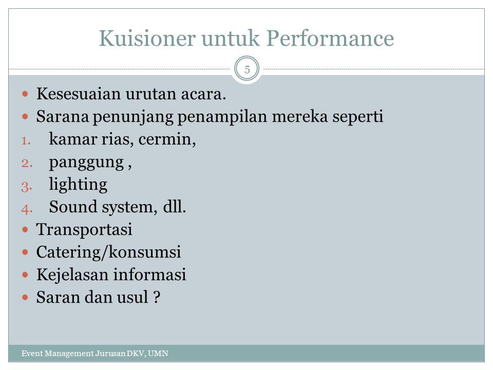 Kuisioner untuk Performance Kesesuaian urutan acara.