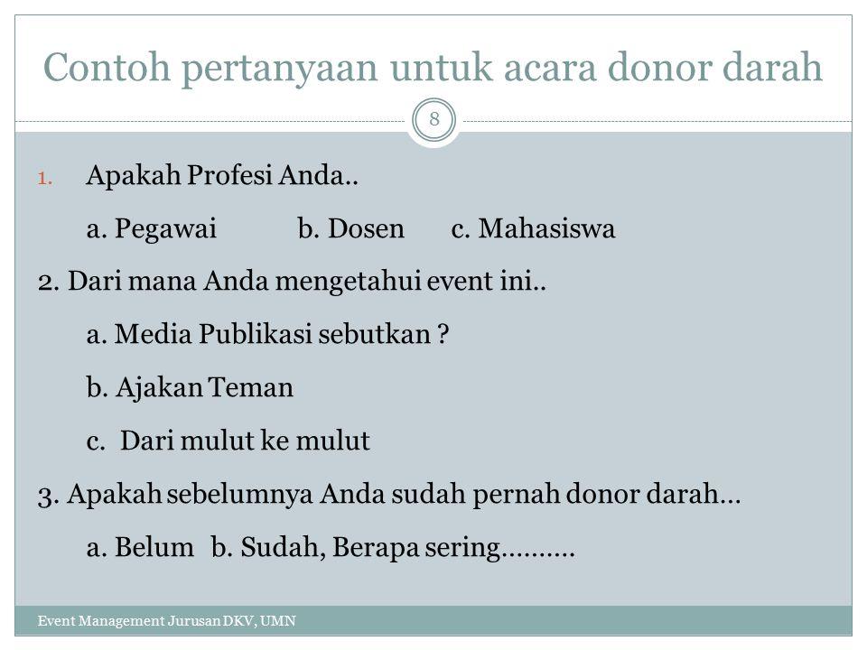 Contoh pertanyaan untuk acara donor darah 1.Apakah Profesi Anda..