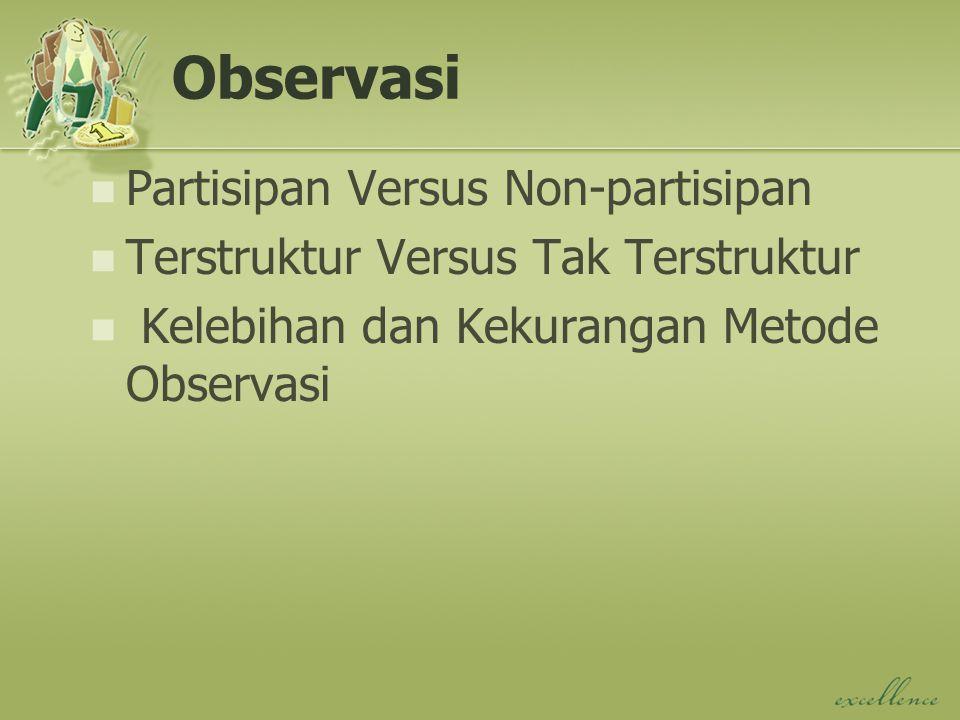 Observasi Partisipan Versus Non-partisipan Terstruktur Versus Tak Terstruktur Kelebihan dan Kekurangan Metode Observasi