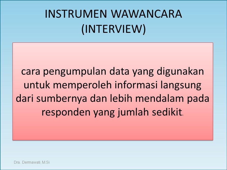 INSTRUMEN WAWANCARA (INTERVIEW) Dra. Dermawati, M.Si cara pengumpulan data yang digunakan untuk memperoleh informasi langsung dari sumbernya dan lebih