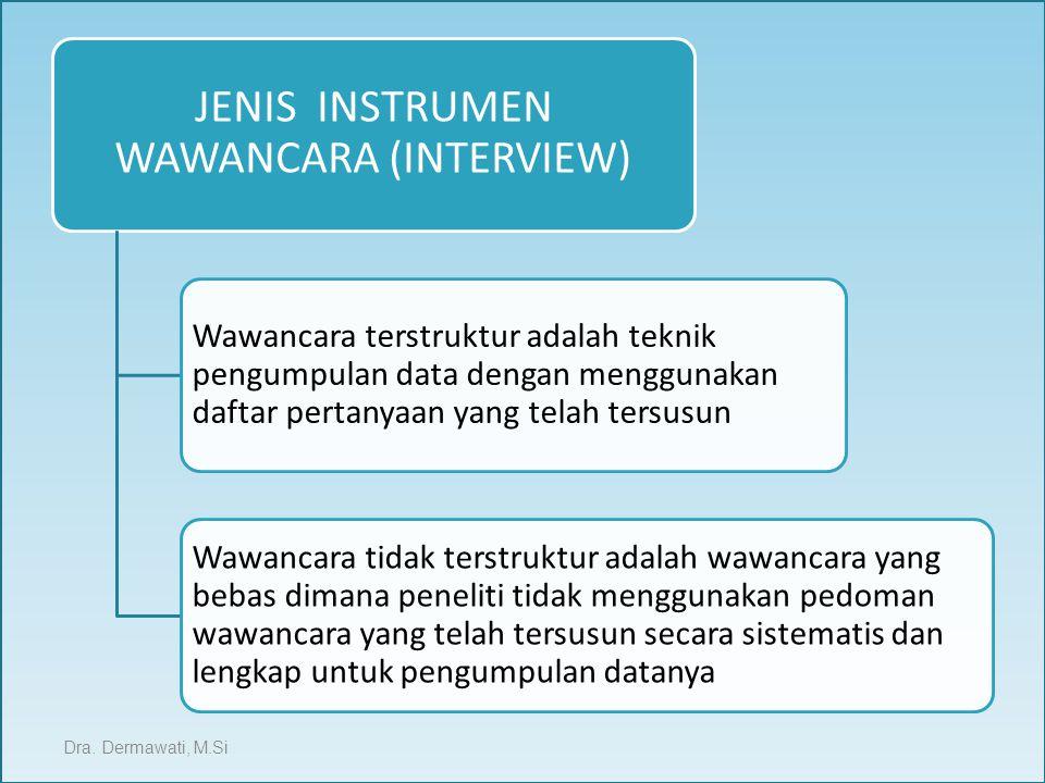 JENIS INSTRUMEN WAWANCARA (INTERVIEW) Wawancara terstruktur adalah teknik pengumpulan data dengan menggunakan daftar pertanyaan yang telah tersusun Wa