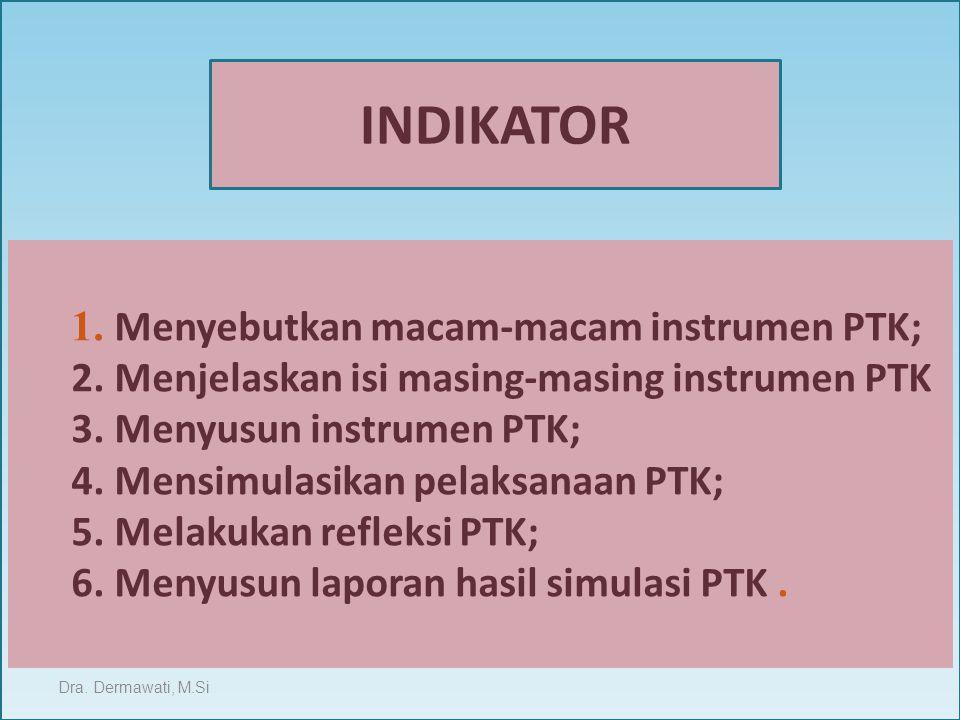 1. Menyebutkan macam-macam instrumen PTK; 2. Menjelaskan isi masing-masing instrumen PTK 3. Menyusun instrumen PTK; 4. Mensimulasikan pelaksanaan PTK;