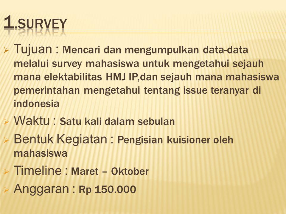  Tujuan : Mencari dan mengumpulkan data-data melalui survey mahasiswa untuk mengetahui sejauh mana elektabilitas HMJ IP,dan sejauh mana mahasiswa pemerintahan mengetahui tentang issue teranyar di indonesia  Waktu : Satu kali dalam sebulan  Bentuk Kegiatan : Pengisian kuisioner oleh mahasiswa  Timeline : Maret – Oktober  Anggaran : Rp 150.000