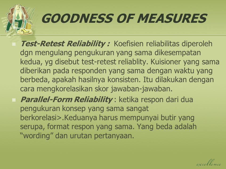 GOODNESS OF MEASURES Test-Retest Reliability : Koefisien reliabilitas diperoleh dgn mengulang pengukuran yang sama dikesempatan kedua, yg disebut test-retest reliablity.