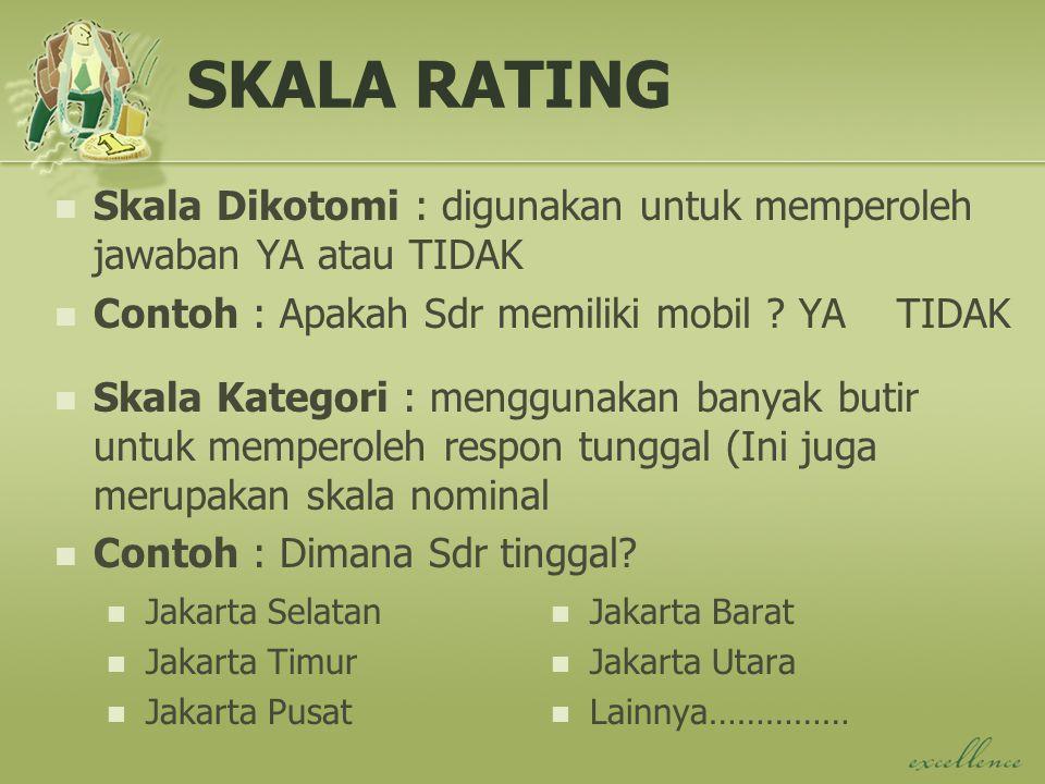 SKALA RATING Skala Dikotomi : digunakan untuk memperoleh jawaban YA atau TIDAK Contoh : Apakah Sdr memiliki mobil .