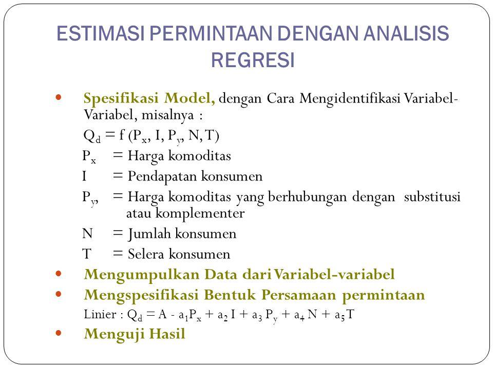 ESTIMASI PERMINTAAN DENGAN ANALISIS REGRESI Spesifikasi Model, dengan Cara Mengidentifikasi Variabel- Variabel, misalnya : Q d = f (P x, I, P y, N, T)