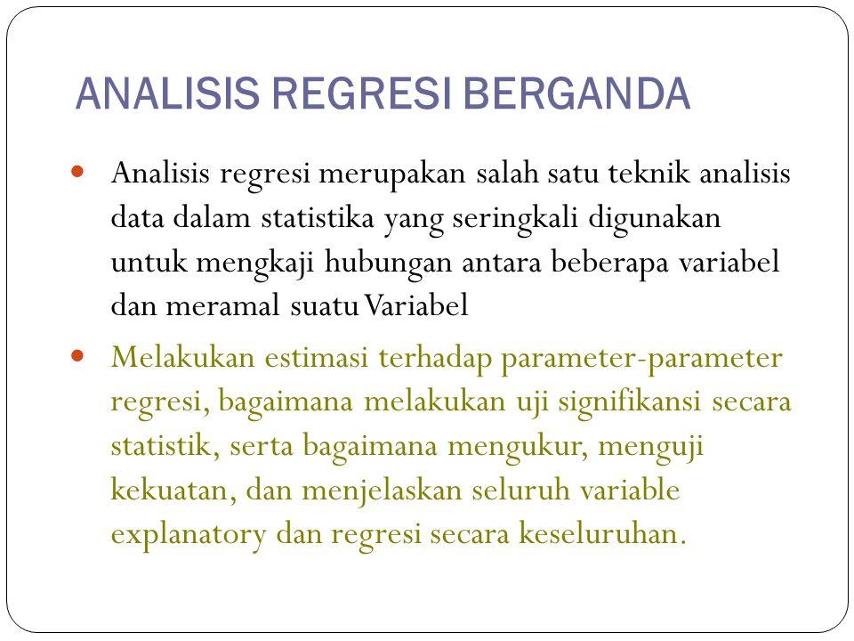 ANALISIS REGRESI BERGANDA Analisis regresi merupakan salah satu teknik analisis data dalam statistika yang seringkali digunakan untuk mengkaji hubunga