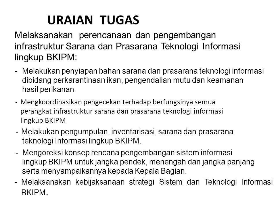 URAIAN TUGAS Melaksanakan perencanaan dan pengembangan infrastruktur Sarana dan Prasarana Teknologi Informasi lingkup BKIPM: -Melakukan penyiapan baha