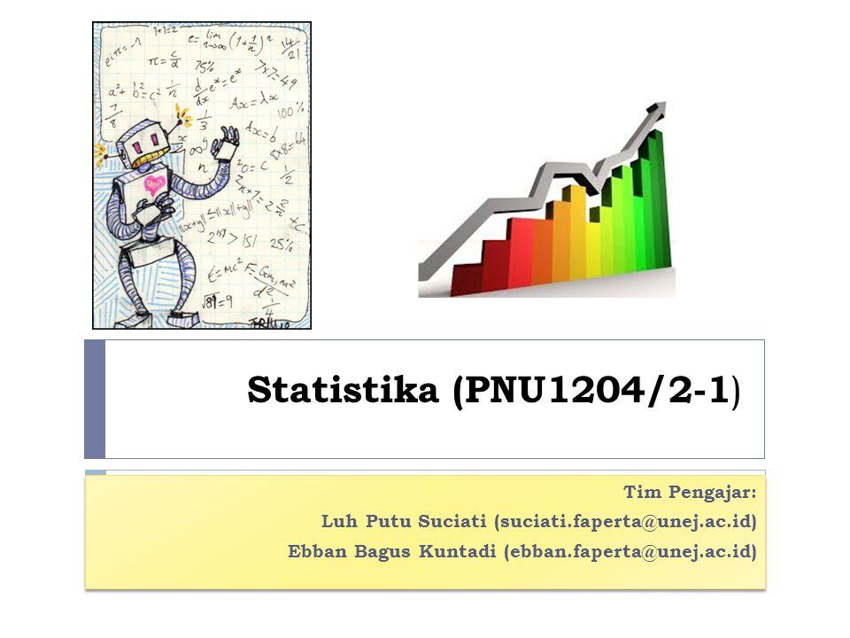 Statistika (PNU1204/2-1 ) Tim Pengajar: Luh Putu Suciati (suciati.faperta@unej.ac.id) Ebban Bagus Kuntadi (ebban.faperta@unej.ac.id) Tim Pengajar: Luh