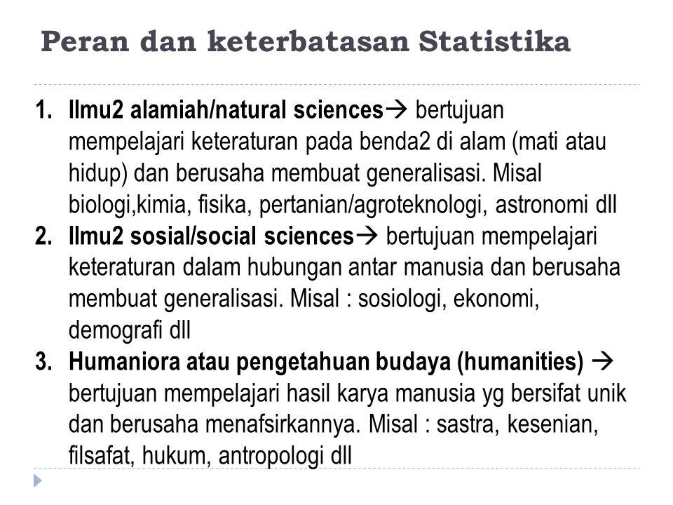 Peran dan keterbatasan Statistika 1.Ilmu2 alamiah/natural sciences  bertujuan mempelajari keteraturan pada benda2 di alam (mati atau hidup) dan berus