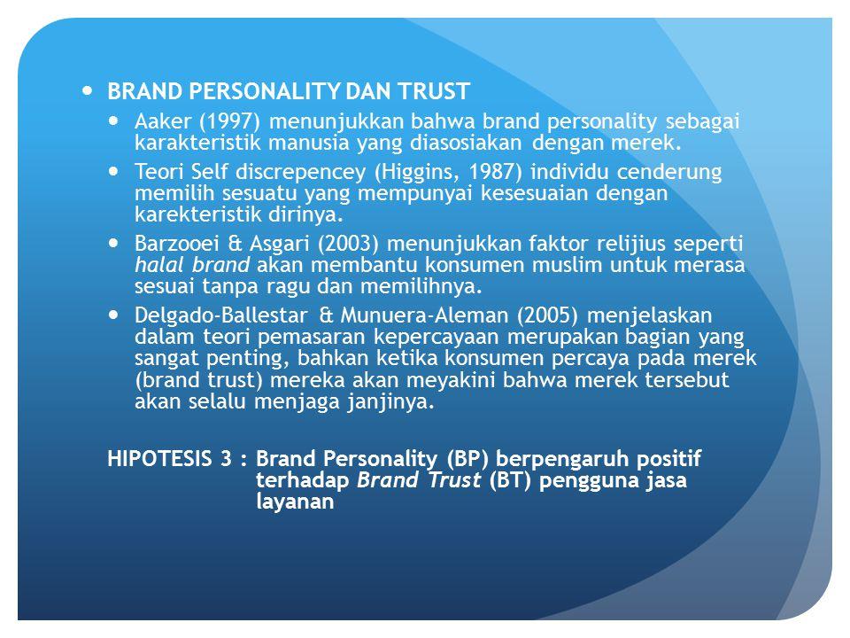 BRAND PERSONALITY DAN TRUST Aaker (1997) menunjukkan bahwa brand personality sebagai karakteristik manusia yang diasosiakan dengan merek. Teori Self d