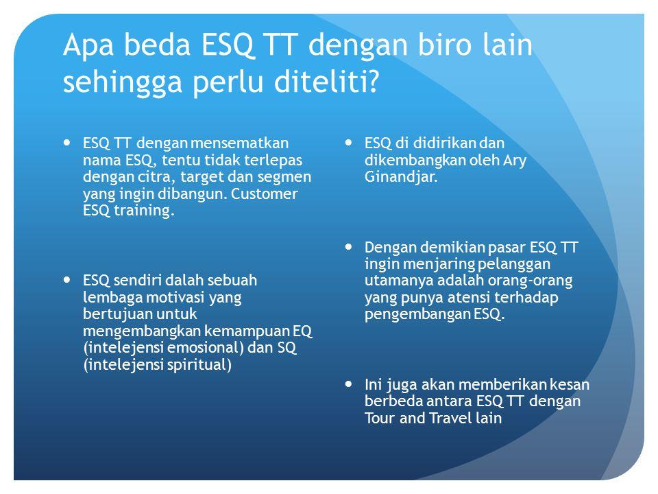 ESQ TT dengan mensematkan nama ESQ, tentu tidak terlepas dengan citra, target dan segmen yang ingin dibangun. Customer ESQ training. ESQ sendiri dalah