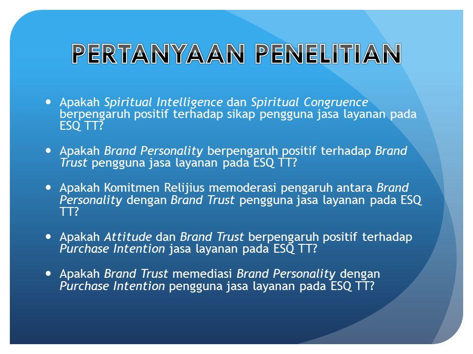 Apakah Spiritual Intelligence dan Spiritual Congruence berpengaruh positif terhadap sikap pengguna jasa layanan pada ESQ TT? Apakah Brand Personality