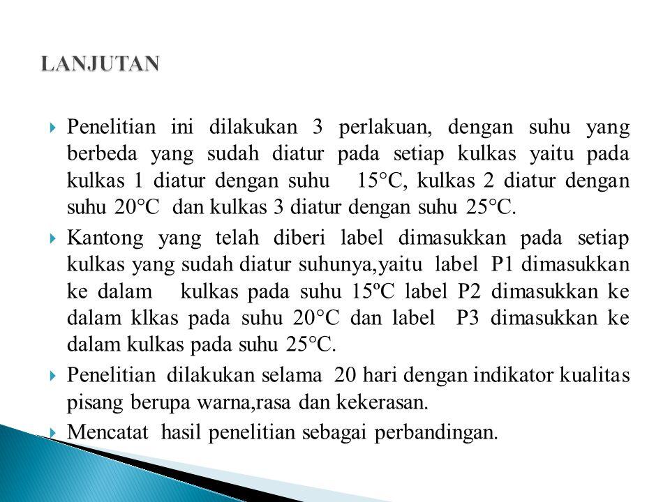  Penelitian ini dilakukan 3 perlakuan, dengan suhu yang berbeda yang sudah diatur pada setiap kulkas yaitu pada kulkas 1 diatur dengan suhu 15°C, kulkas 2 diatur dengan suhu 20°C dan kulkas 3 diatur dengan suhu 25°C.