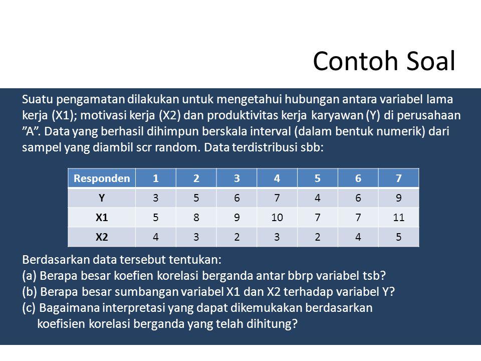 KOEFISIEN PENENTU BERGANDA (KPB/ Koefisien Determinasi Berganda) Ditentukan dengan cara mengkuadratkan koefisien korelasi berganda dikalikan dengan 10