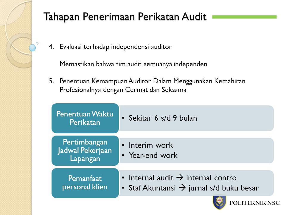 Tahapan Penerimaan Perikatan Audit POLITEKNIK NSC 4.