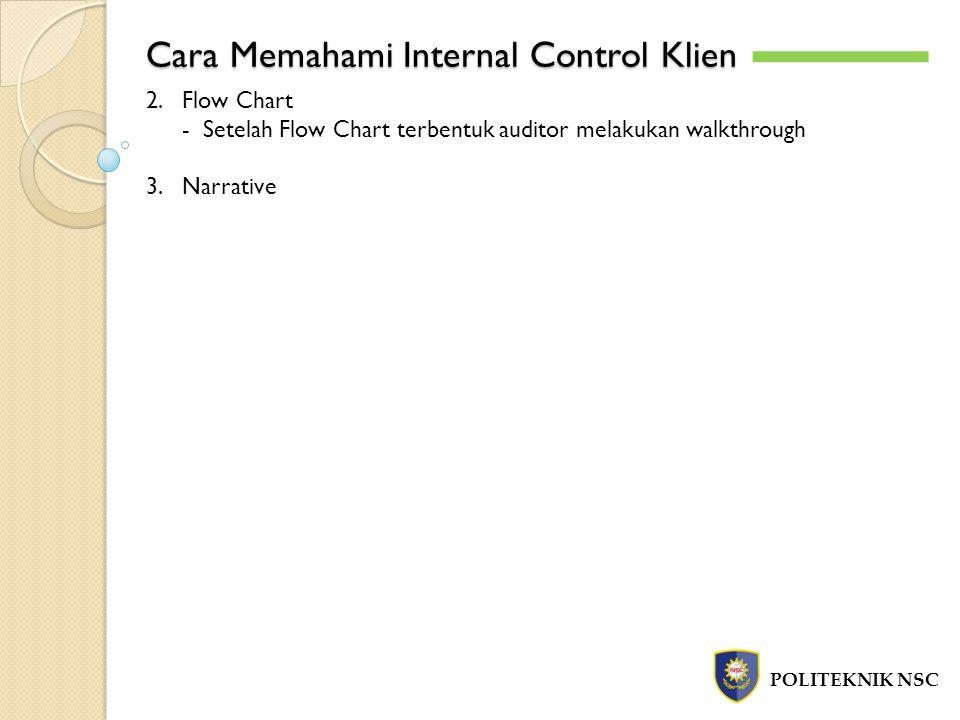 Cara Memahami Internal Control Klien POLITEKNIK NSC 2.Flow Chart - Setelah Flow Chart terbentuk auditor melakukan walkthrough 3.