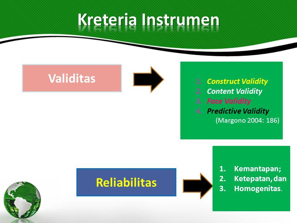 1.Construct Validity 2.Content Validity 3.Face Validity 4.Predictive Validity (Margono 2004: 186) Validitas Reliabilitas 1.Kemantapan; 2.Ketepatan, da