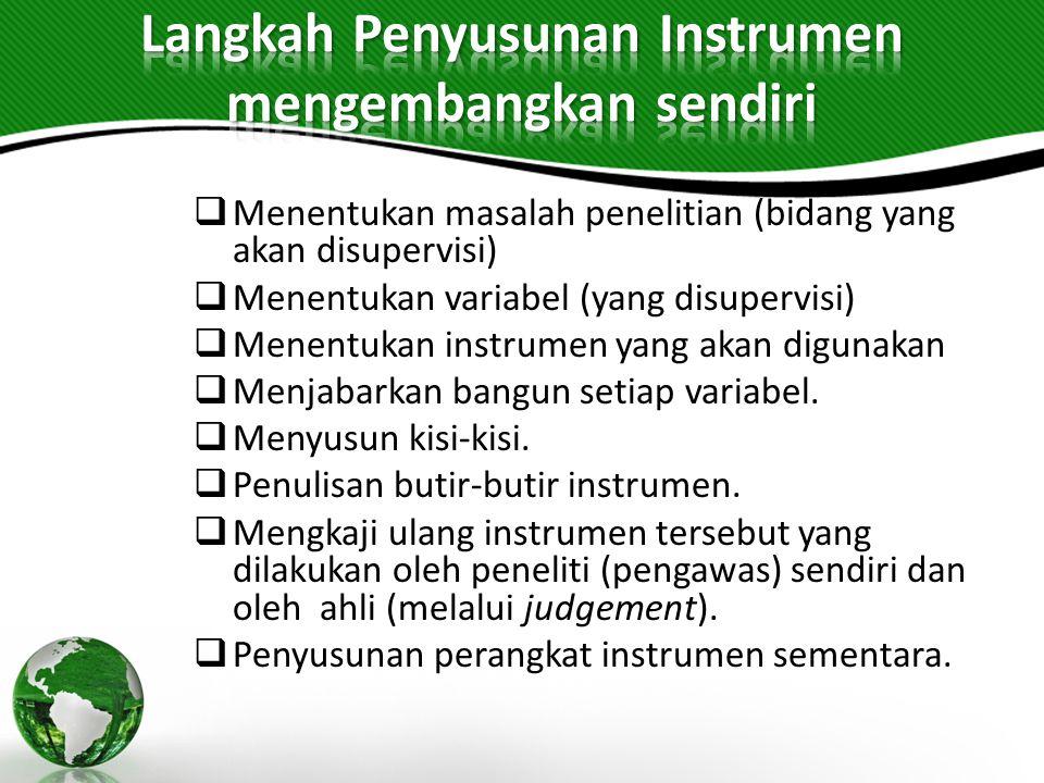  Menentukan masalah penelitian (bidang yang akan disupervisi)  Menentukan variabel (yang disupervisi)  Menentukan instrumen yang akan digunakan  Menjabarkan bangun setiap variabel.
