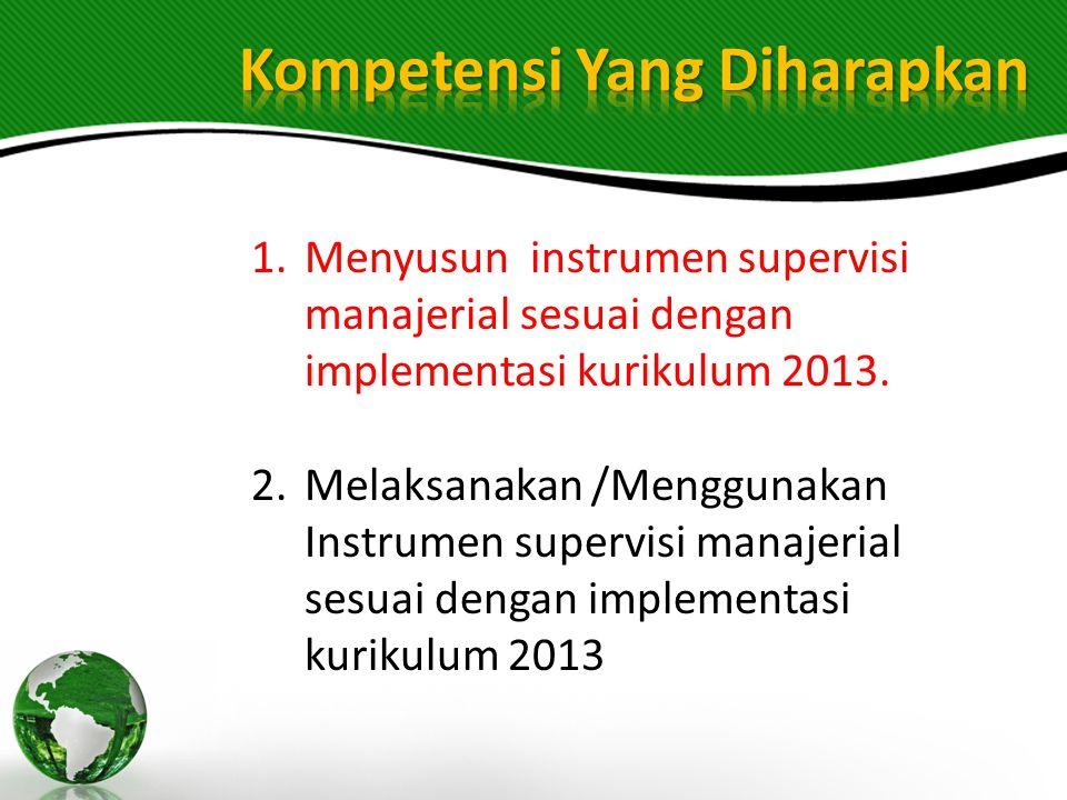 1.Menyusun instrumen supervisi manajerial sesuai dengan implementasi kurikulum 2013. 2.Melaksanakan /Menggunakan Instrumen supervisi manajerial sesuai